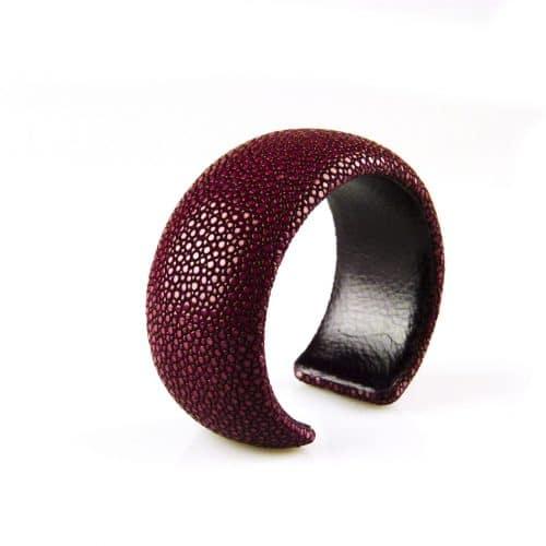 bracelet en cuir de raie galuchat 30 mm large couleur bordeaux