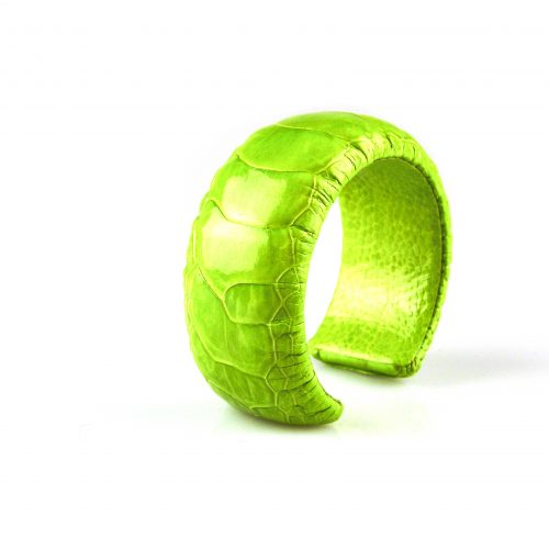 armband in struisvogel leder fel groen 30 mm breed