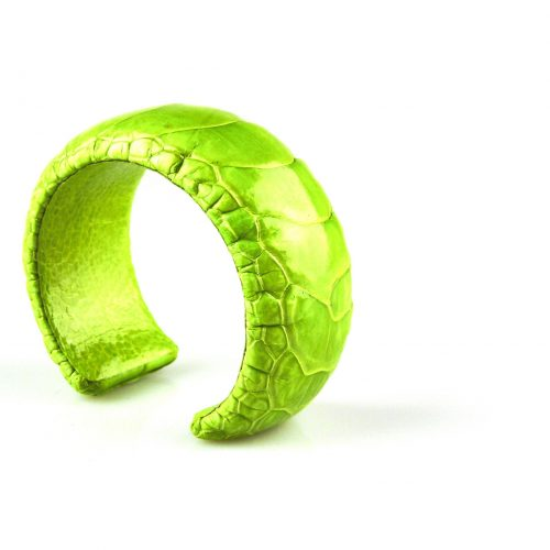 bracelet en cuir d'autruche 30 mm large couleur lime