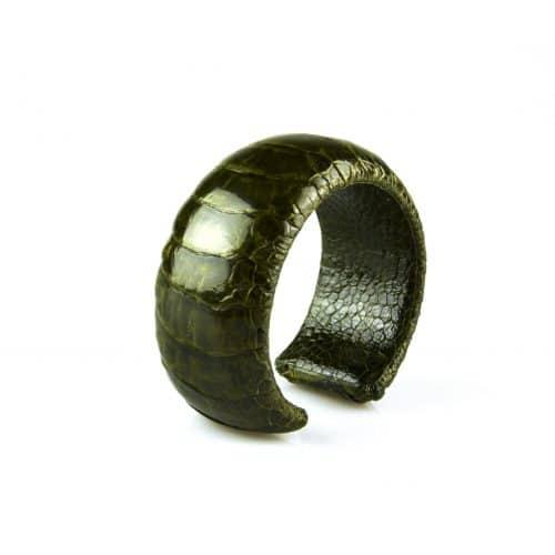 bracelet en cuir d'autruche 30 mm large couleur bronze