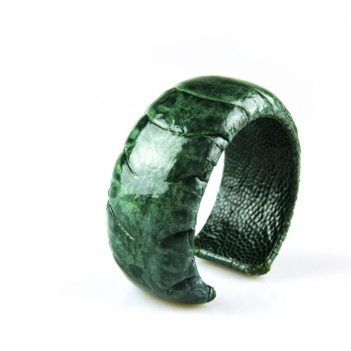 armband in struisvogel leder donker groen 30 mm breed