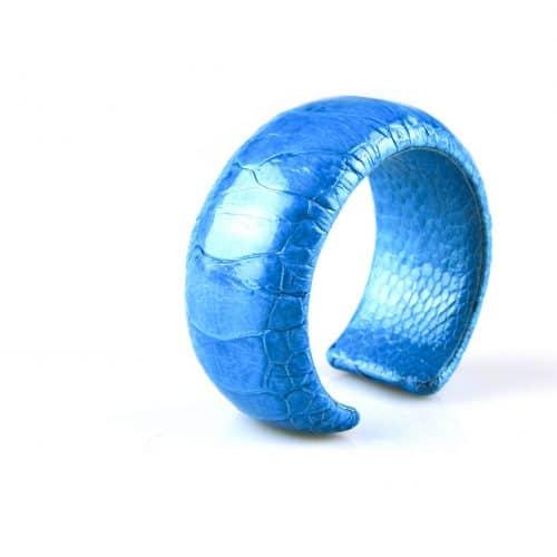 bracelet en cuir d'autruche 30 mm large couleur turkoois