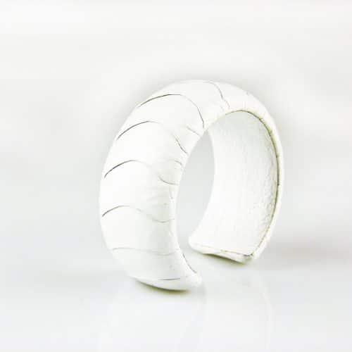 bracelet en cuir d'autruche 30 mm large couleur snow