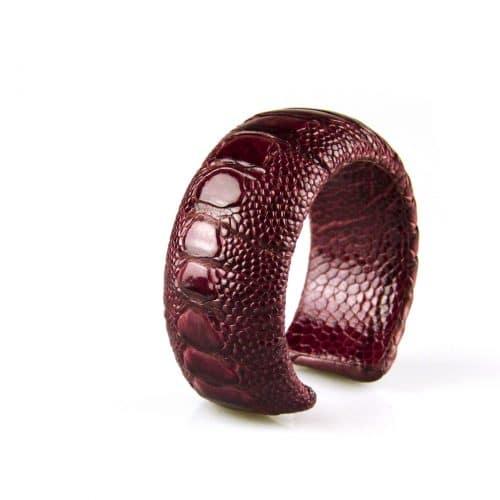 bracelet en cuir d'autruche 30 mm large couleur rugged