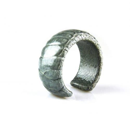 bracelet en cuir d'autruche 30 mm large couleur chrome