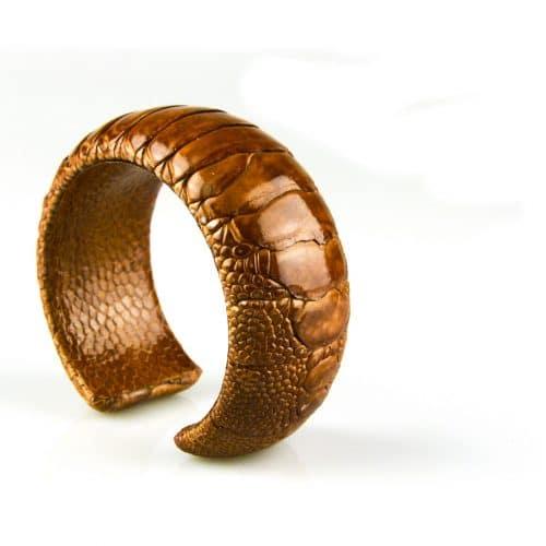 bracelet en cuir d'autruche 30 mm large couleur copper
