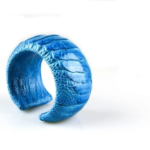 bracelet en cuir d'autruche 40 mm large couleur turkoois