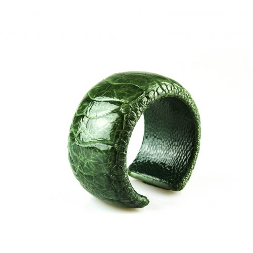 armband in struisvogel leder groen 40 mm breed