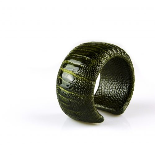 armband in struisvogel leder donker groen 40 mm breed