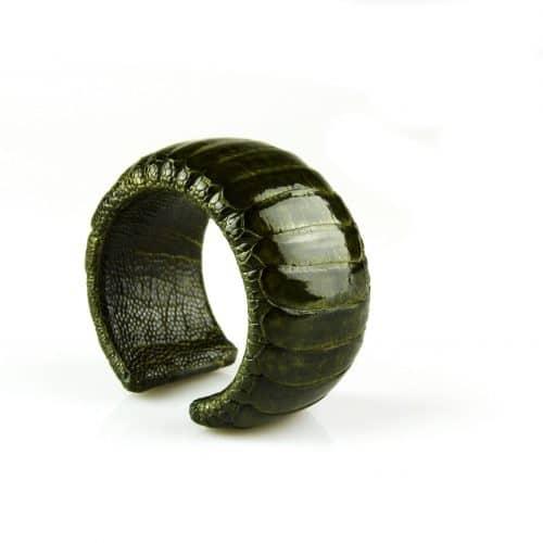 bracelet en cuir d'autruche 40 mm large couleur bronze