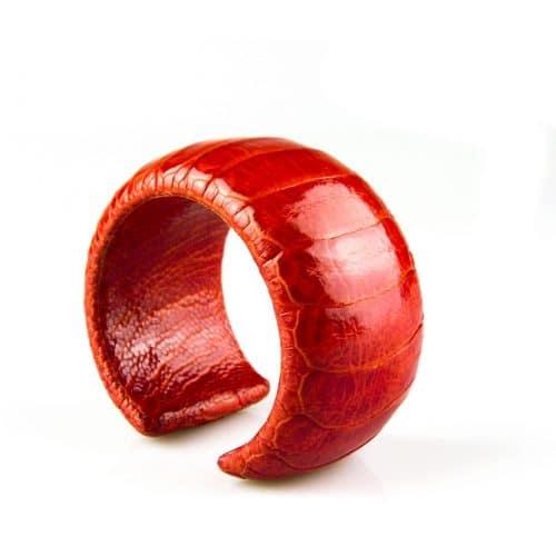 bracelet en cuir d'autruche 40 mm large couleur tangerine