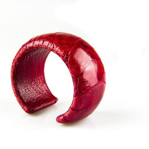 bracelet en cuir d'autruche 40 mm large color ruby