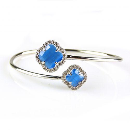 zilveren armband esclave blauwe stenen bloemen