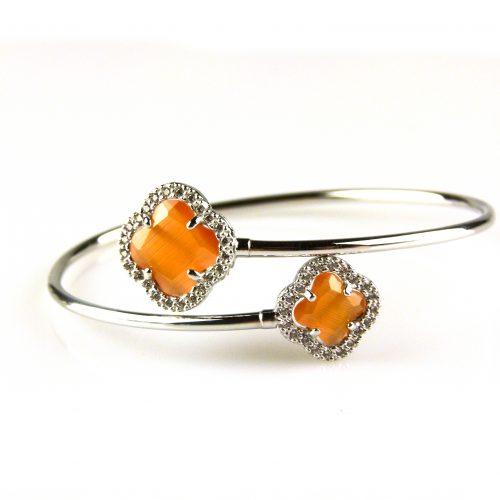 zilveren armband esclave oranje stenen bloemen
