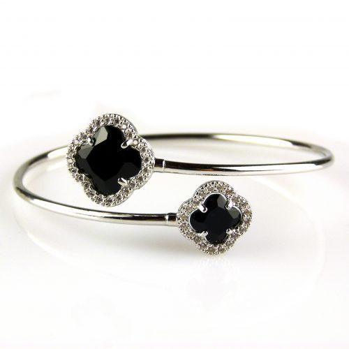 zilveren armband esclave zwarte stenen bloemen