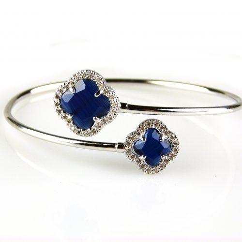 zilveren armband esclave donker blauwe stenen bloemen