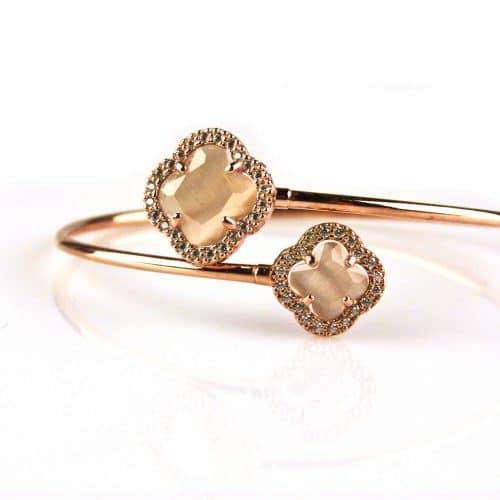 armband esclave in roos goud met bruine gekleurde stenen bloemen