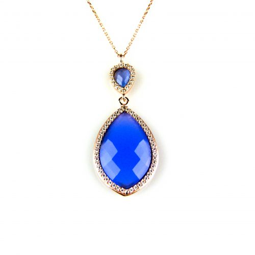 zilveren ketting roosgoud verguld met hanger blauwe steen en cubic zirconia