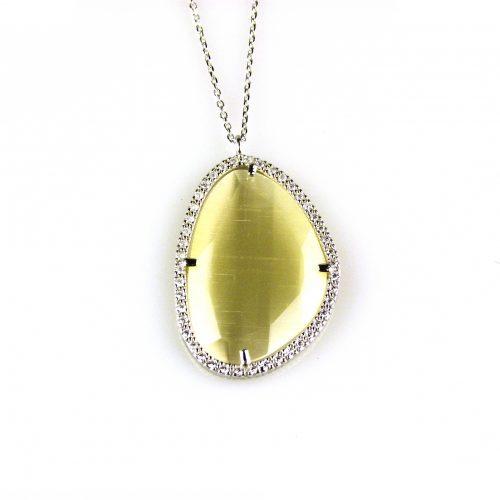 zilveren ketting collier met hanger parelmoer steen en cubic zirconia