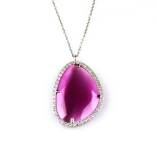 zilveren ketting collier met hanger roze steen en cubic zirconia