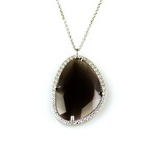 zilveren ketting collier met hanger grijze steen en cubic zirconia