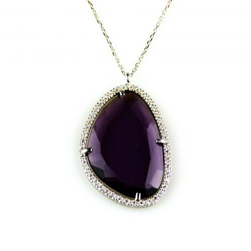zilveren ketting collier met hanger paarse steen en cubic zirconia