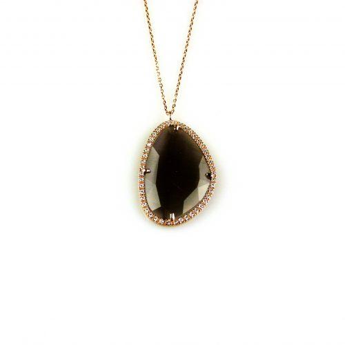 zilveren ketting collier roosgoud verguld met hanger grijze steen en cubic zirconia