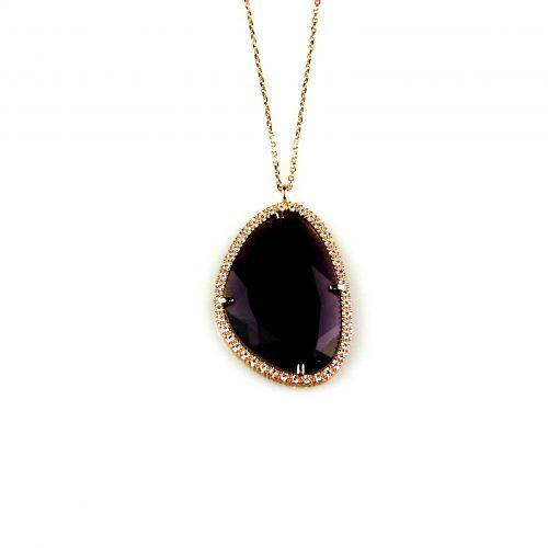 zilveren ketting collier roosgoud verguld met hanger paarse steen en cubic zirconia