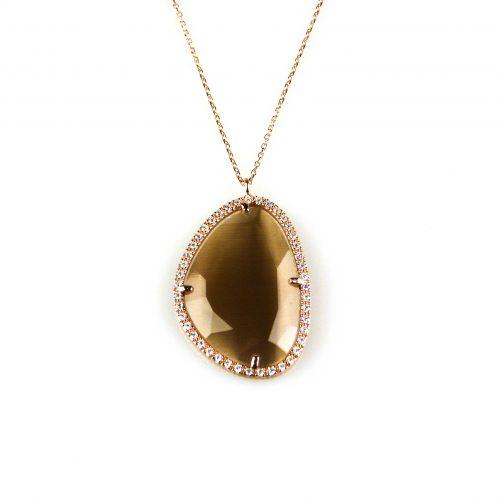 zilveren ketting collier roosgoud verguld met hanger bruine steen en cubic zirconia