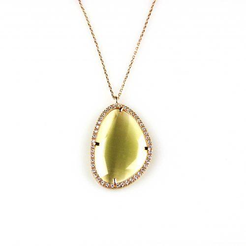 zilveren ketting collier roosgoud verguld met hanger parelmoer steen en cubic zirconia