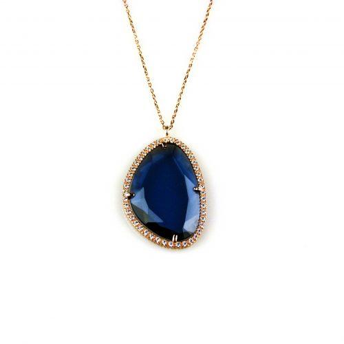 zilveren ketting collier roosgoud verguld met hanger blauwe steen en cubic zirconia