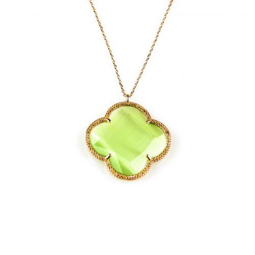 zilveren collier ketting roségoud verguld met groene steen bloem klaver