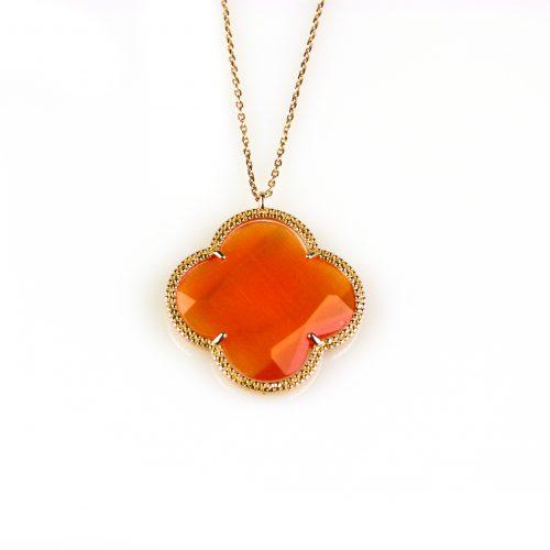 zilveren collier ketting roségoud verguld met oranje steen bloem klaver