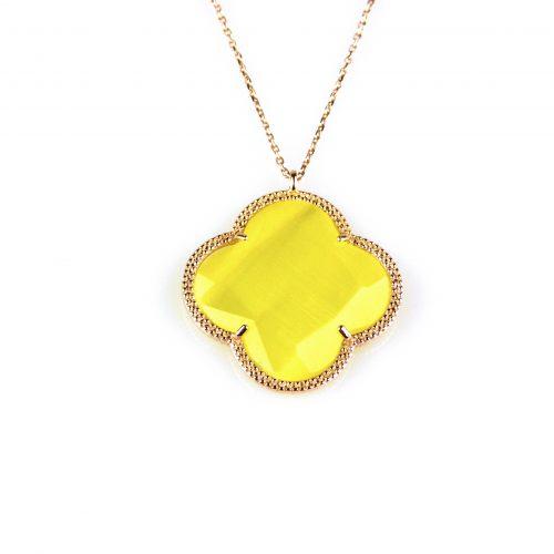 zilveren collier ketting roségoud verguld met gele steen bloem klaver