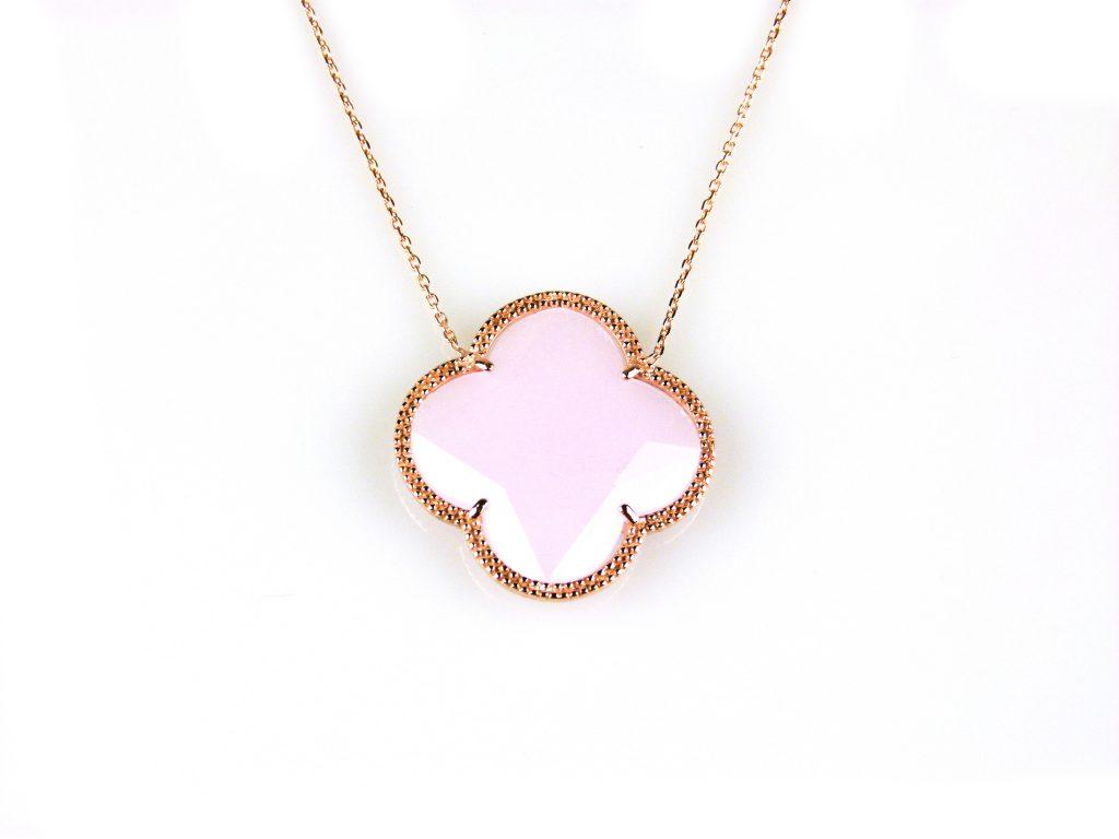zilveren collier ketting roségoud verguld met roze steen bloem klaver