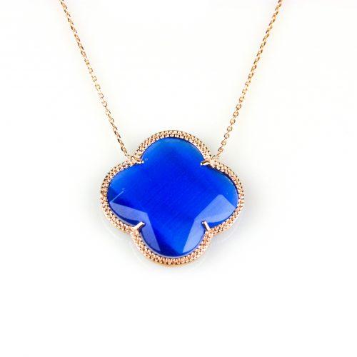 zilveren collier ketting roségoud verguld met blauwe steen bloem klaver