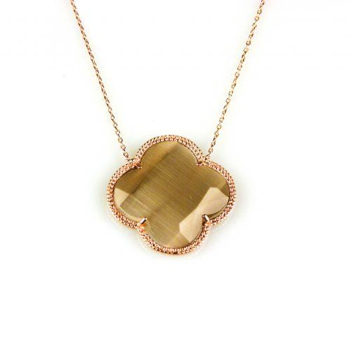 zilveren collier ketting roségoud verguld met bruine steen bloem klaver