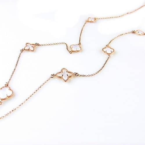 zilveren collier ketting sautoir roségoud verguld met parelmoer stenen bloemen klavers