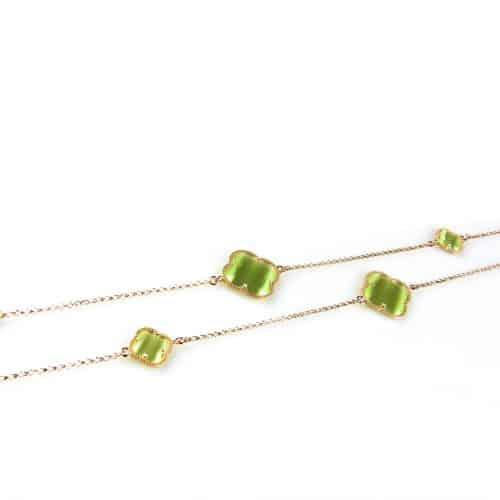 zilveren collier ketting sautoir roségoud verguld met groene stenen bloemen klavers