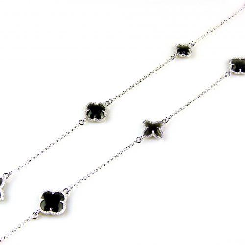 zilveren collier ketting sautoir met grijze stenen bloemen klavers