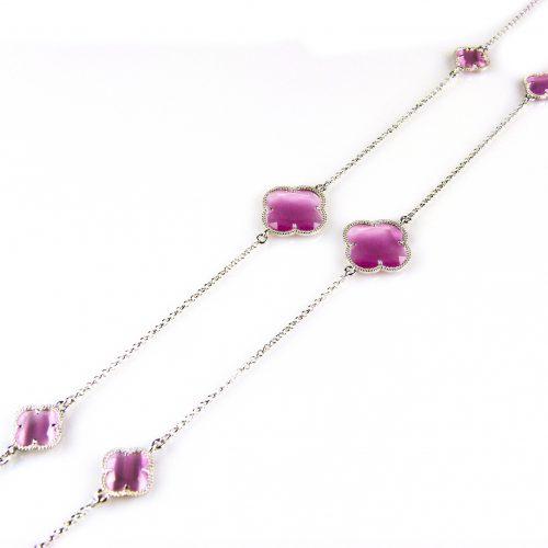 zilveren collier ketting sautoir met roze stenen bloemen klavers