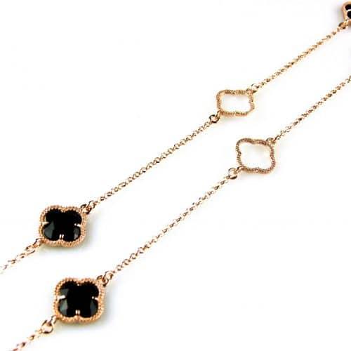 zilveren collier ketting sautoir roségoud verguld met zwarte stenen bloemen klavers