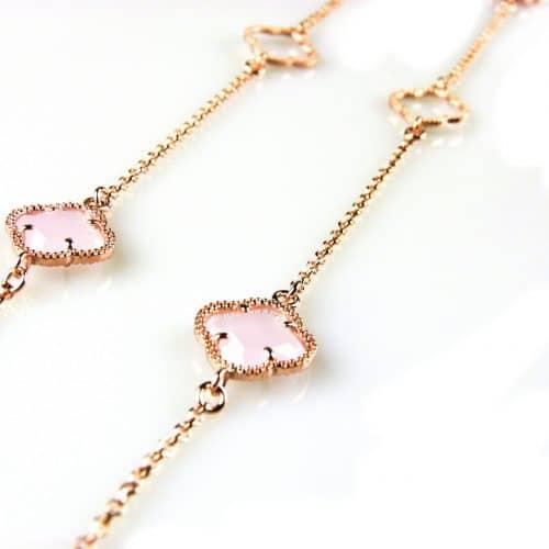 zilveren collier ketting sautoir roségoud verguld met roze stenen bloemen klavers