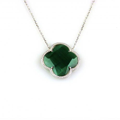 zilveren collier ketting met groene steen bloem klaver