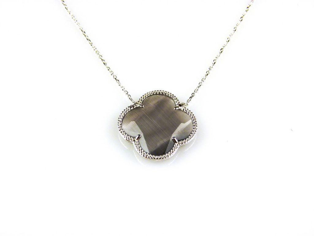 zilveren collier ketting met grijze steen bloem klaver