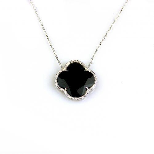 zilveren collier ketting met zwarte steen bloem klaver
