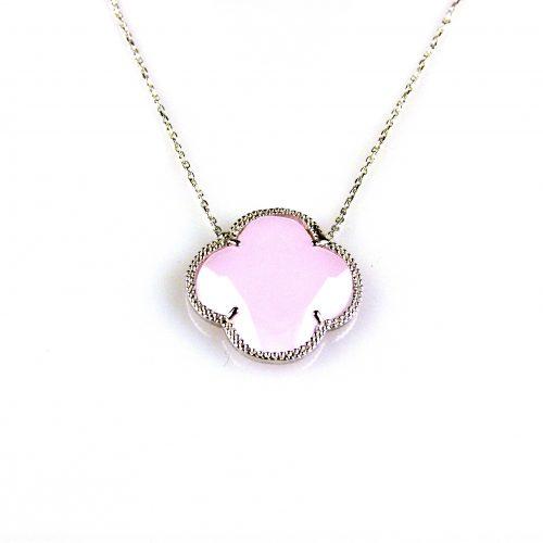 zilveren collier ketting met roze steen bloem klaver