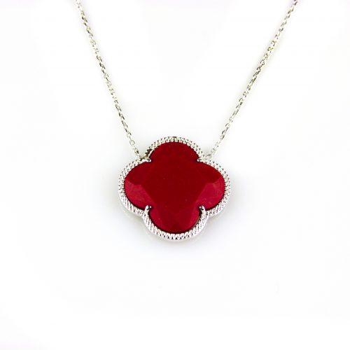 zilveren collier ketting met rode steen bloem klaver