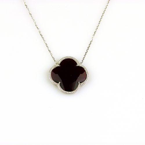 zilveren collier ketting met donkerrode steen bloem klaver