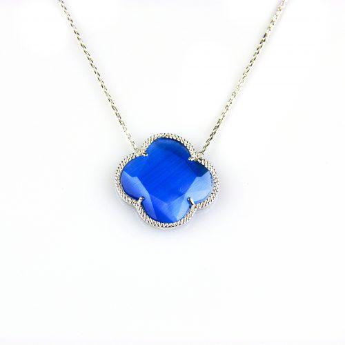 zilveren collier ketting met blauwe steen bloem klaver